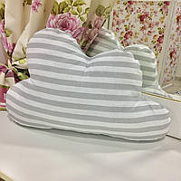 Декоративная подушка-тучка: серая полоска, х/б наперник, наполнитель холлофайбер, 50х35 см