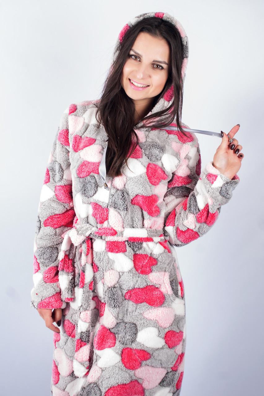 Женский махровый халат на замке сердечка