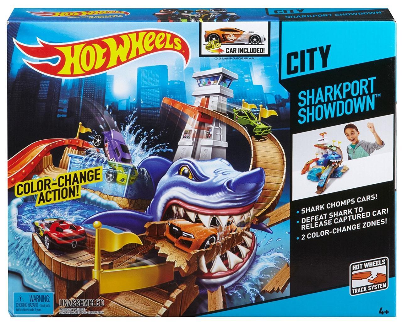 Трек Хот Вилз Атака Акулы  измени цвет машинки / Hot Wheels Sharkport Showdown Trackset
