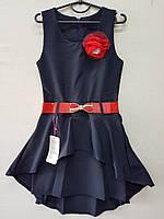 Сарафан-платье для девочки 7-10 лет с красным поясом