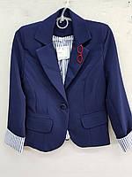 Пиджак на девочку 8-12 лет синий с манжетами