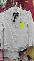 Блузка белая для девочек 5-8 лет рюши