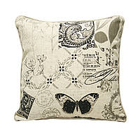 Подушка для дивана Home4You HOME  45x45cm  бежевая с черно-белым принтом