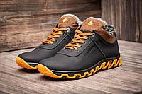 Ботинки мужские зимние на меху Columbia TRACK II кожаные, черные с желтым