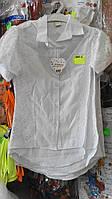 Блузка белая для девочек 9-12 лет с гипюром