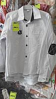 Рубашка на мальчика 5-8 лет белая с черными заплатками