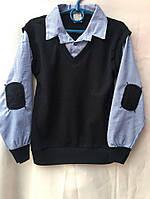 Жилетка-рубашка обманка для мальчика на 6-15 лет