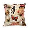 Подушка для стула Home4You HOLLY  45x45cm  бежевая с красно-бежевым ретро принтом
