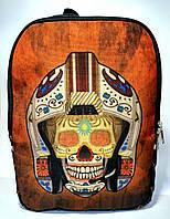 Джинсовый рюкзак Череп в шлеме, фото 1