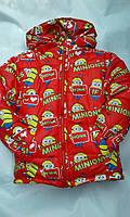 Куртка зимняя для девочек 2-6 лет Миньоны красного цвета