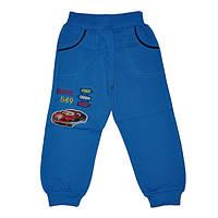 Детские спортивные штаны для мальчика 5-8 лет на флисе синие Тачки оптом