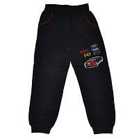 Детские спортивные штаны для мальчика 5-8 лет на флисе черные Тачки оптом