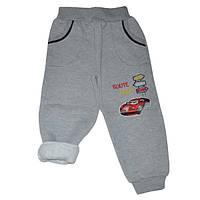 Детские спортивные штаны для мальчика 5-8 лет на флисе серые Тачки оптом