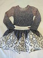 Платье для девочки 3-6 лет с длинными рукавами трикотажная вязка