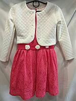 Нарядное платье для девочки 4-7 лет с болеро  белого цвета, платье алого.