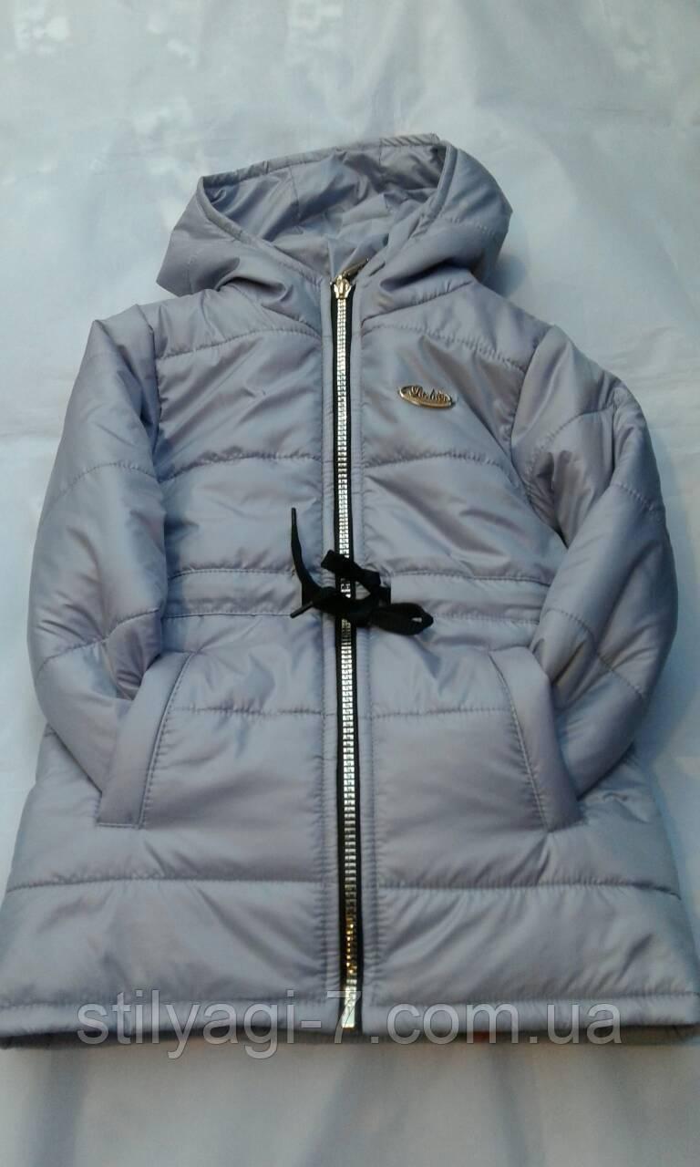 Куртка демисезонная для девочек 2-6 лет  Серого цвета с капюшоном