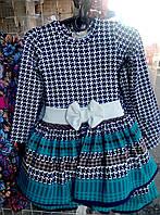 Платье для девочки 3-6 лет с длинными рукавами  серого цвета с бирюзовой полоской в клетку