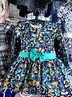 Плаття для дівчинки 3-6 років з довгими рукавами з квітами і бантом оптом