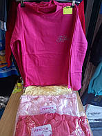 Гольф  для девочки  с начесом на 9-12 лет  розового, желтого цвета с надписью оптом