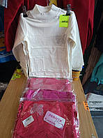 Гольф  для девочки  с начесом на 9-12 лет  розового, белого, красного цвета Бабочка оптом