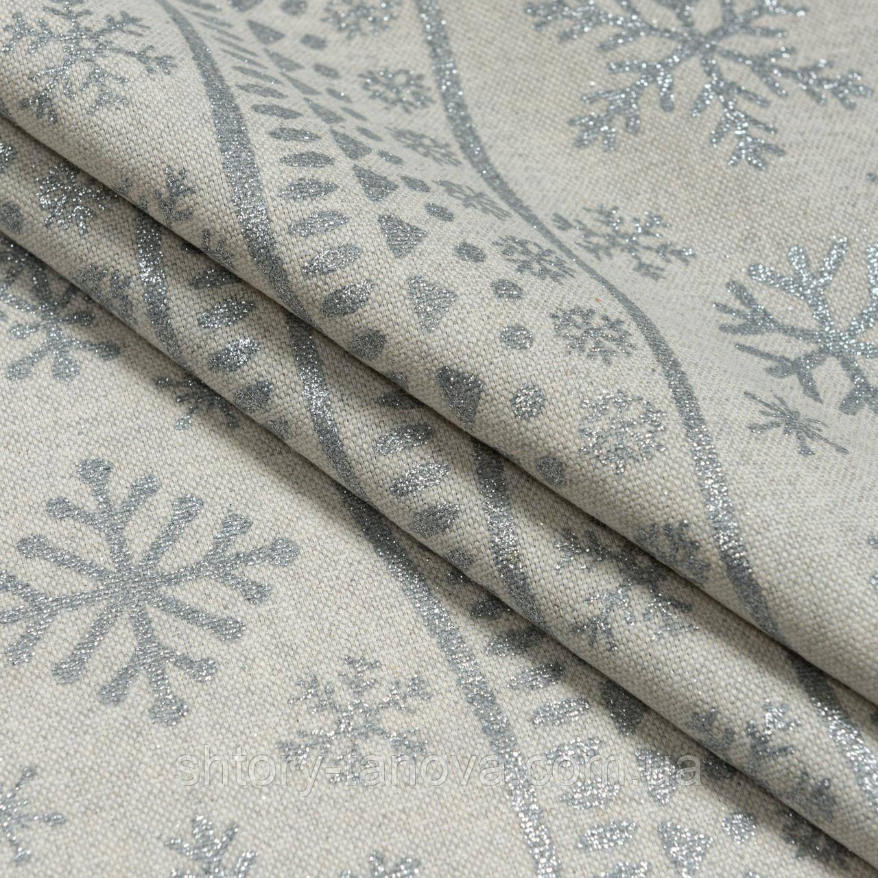 Декоративна тканина, бавовна 80%, поліестер 20%, з новорічним принтом, срібні сніжинки