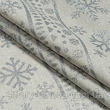 Новогодняя ткань для скатерти и салфеток с новогодним принтом серебряные снежинки хлопок 80%