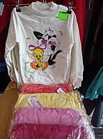 Гольф для девочки с начесом на 5-8 лет розового, белого, красного,желтого цвета Мультяшки оптом