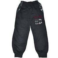 Спортивные штаны для мальчика на 8-12 лет на флисе на манжетах темно-серого цвета New Boy оптом