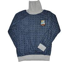 Гольф-водолазка для мальчика 5-8 лет (мягкий ворс) синего цвета в ромбик оптом