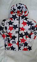 Куртка зимняя для девочек 2-6 лет красного с белым цвета звезды оптом