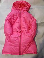 Куртка зимняя удлиненная для девочек на овчине 2-6 лет розового цвета оптом