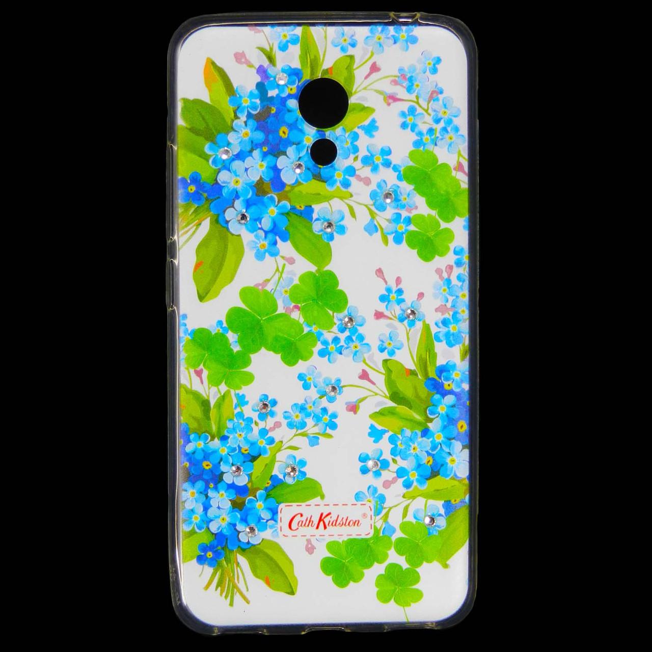 Чехол накладка для Meizu M5c силиконовый Diamond Cath Kidston, Прекрасные незабудки