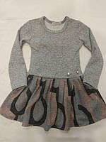 Плаття для дівчинки 3-6 років з довгими рукавами сірого кольору оптом