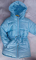 Куртка зимняя удлиненная для девочек на овчине 2-6 лет голубого цвета оптом