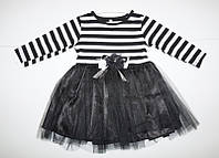 Платье нарядное для девочки с рукавом 1-4 лет черного цвета вверху полоска оптом