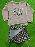 Костюм для девочки на 4-7 лет батник+шорты-юбка цвета двойка Шик оптом