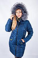 Куртка с меховым капюшоном синяя Рита 46р