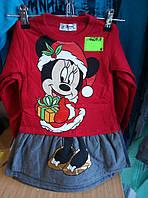 Туника-платье на байке для девочки 1-4 лет с длинным рукавом красного цвета Минни оптом
