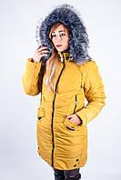 Куртка с меховым капюшоном желтая РИТА