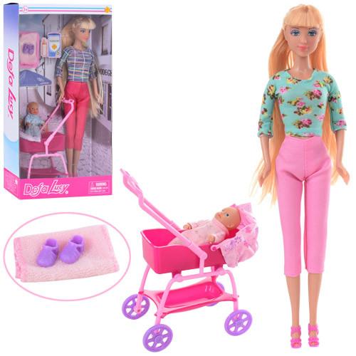 Кукла DEFA 8358 (36шт) 29см, пупс 8см, коляска, аксессуары, 2вида, в кор-ке, 18-32,5-6,5см