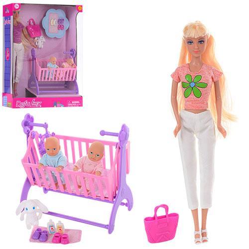 Кукла DEFA 8359 (12шт) 29см, пупс 2шт, 8см, кроватка, сумка, аксессуары,2вида, в кор-ке,24-32,5-10см