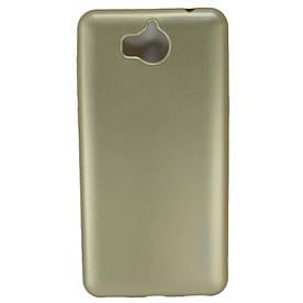 Чехол накладка для Huawei Y5 2017 силиконовый матовый, ROCK, золотистый