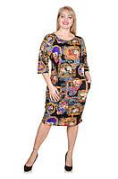 Красивое платье размер плюс Антония черный узоры (52-56)