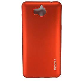Чехол накладка для Huawei Y5 2017 силиконовый матовый, ROCK, красный
