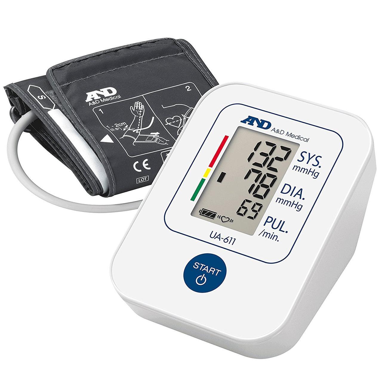 Тонометр автоматический AND UA-611 на плечо со стандартной манжетой 22-32 см, индикатором аритмии, Япония