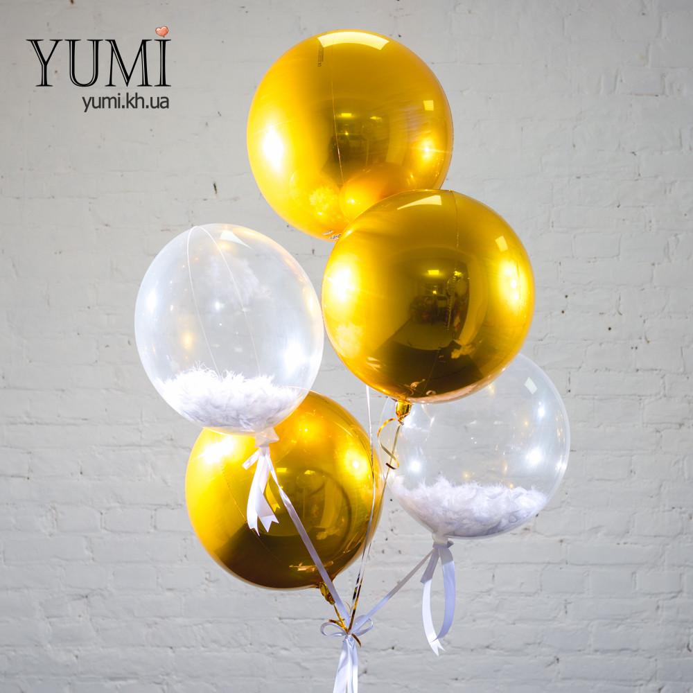 Фонтан из 5 воздушных шаров с гелием на подарок
