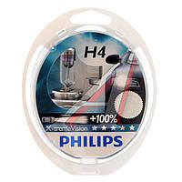 Лампа накаливания H4 12V 60/55W P43t-38  X-treme VISION +130% (производство Philips) (арт. 12342XV+S2), ACHZX