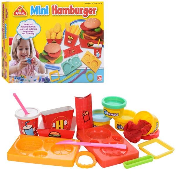 Тесто для лепки 6816 (24шт) гамбургер,4цв(баноч.с крыш),аром,формоч,инструм,в кор-ке,25-18-6,5см