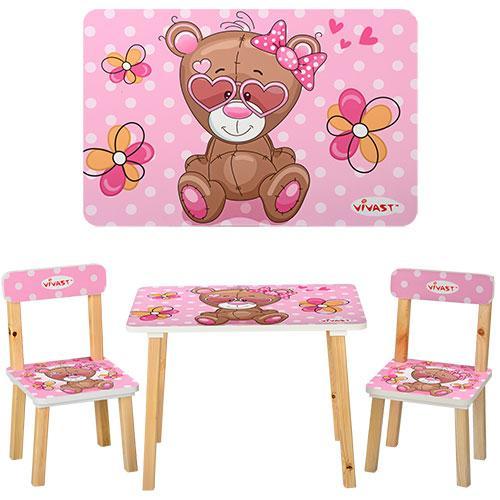 Столик 501-9 (1шт) деревянный, 60-40см, 2 стульчика, розовый мишка, в кор-ке,