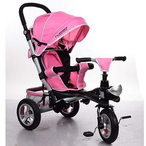 Велосипед M 3647A-10 (1шт)три кол.резина (12/10),колясочн,сиденье лежа,корз,неж.-роз